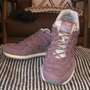 New Balance 574 with rose gold accents